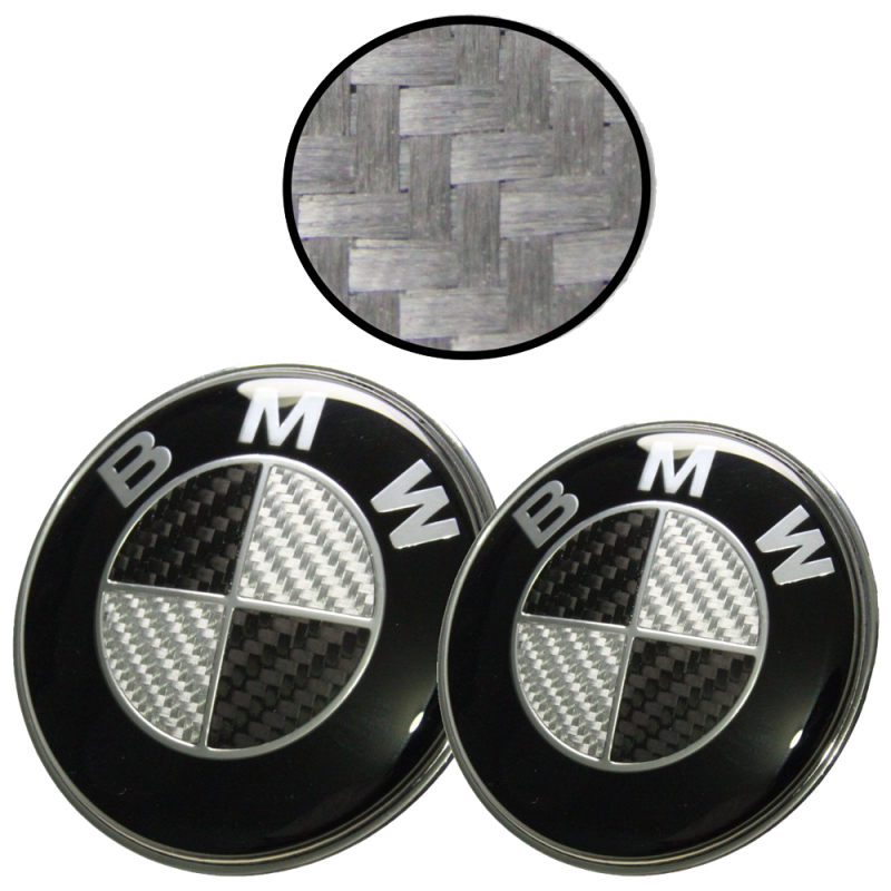 Afauto 7pcs BMW Black-Silver Carbon Fiber Style Emblem Logo Badge Set 73-82mm